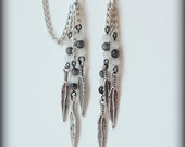 Cartilage Chain Earrings - Black and White Feathered Elegance