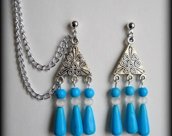 Blue and Silver Tribal Turquoise Cartilage Chain Earrings