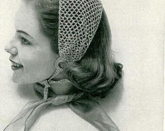 BLUE BANDEAU  - Crochet Head Scarf Pattern (SNH117)