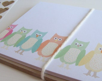 wise little owls - set of 5 folded note cards