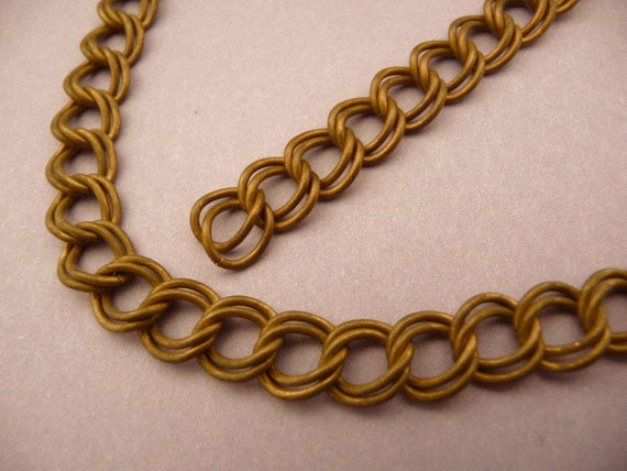 Vintage Dark Raw Brass Chain with Double Loop -  Bronze color -- Vintage (3 ft)