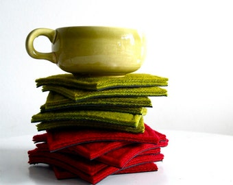 coaster set - red or chartreuse