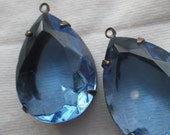 Light Sapphire Vintage Glass in Oxidized Brass Settings 25X18mm Pears 2