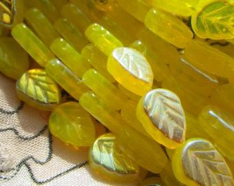 Lemon Opal AB Yellow 10x8mm Leaf Beads  25 Pcs