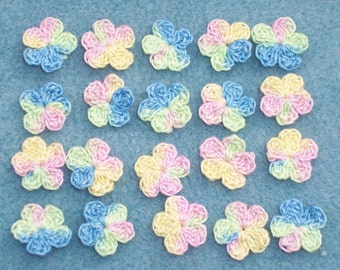20 variegated pastel cotton thread crochet applique flowers -- 1506
