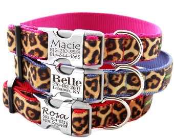 Personalized Engraved Buckle Dog Collar - Velvet Leopard - 8 colors