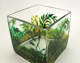 Original Hand Painted Vase- Square Glass- Moss and Ferns Woodland Home Decor
