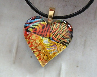 Dichroic Pendant, Heart Pendant, Glass Jewelry, Gold, One of a Kind, Necklace Included, A6