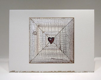 Heart Art - Heart Card - Love Art - Love Note - X Marks The Spot - Everyday Love Note - 5 x 6.75 Card - Valentine - Birthday - Anniversary