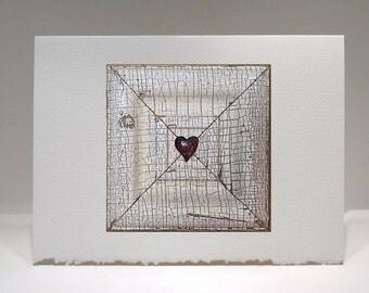 Heart Art - Heart Card - Love Art - Love Note - X Marks The Spot - Everyday Love Note - 5 x 6.75 Card - Valentine - Birthday - Anniversary