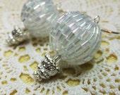 Elegant Air Ship Sparkling White Beaded Beads Steampunk Hot Air Balloon Dangle Earrings
