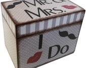 Wedding Guest Book Box Alternative, Personalized Wedding Box Holds 4x6 Cards, Mr. Mrs. Lips Mustache, Bridal Shower Gift, MADE TO ORDER