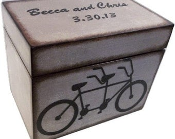 Wedding Guest Book Box, Recipe Box, Wedding Card Box, Holds 5x7 Cards, Tandem Bicycle, Bridal Shower Gift, Wedding Recipe Box, MADE TO ORDER