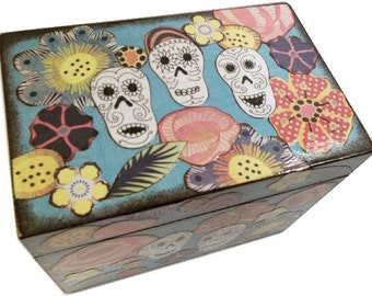 Recipe Box, Wood Recipe Box, Decoupaged Recipe Box, Sugar Skull Box, Wedding Recipe Box, Bridal Shower Box, Holds 4x6 Cards, MADE TO ORDER