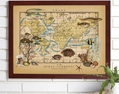Vintage Map Wall Art, Ocean Currents, Lithograph