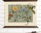 Vintage Map Wall Art, Botanical Delights, Wood Bound Canvas