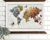Vintage Map Wall Art, Butterfly Migration, Wood Bound Canvas