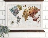 Vintage Map Art, Butterfly Migration, Wood Bound Canvas, Butterflies World Map Art