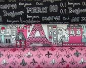 Mon Amie Blush Pink Eiffel Tower Paris France Village Robert Kaufman Fabric, 1/2 Yard Each