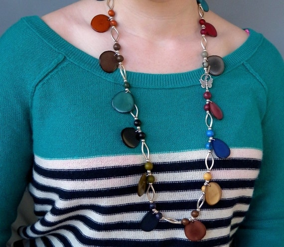 Eco Friendly Tagua Nuts and Acai Seed Beads Sterling Sliver Necklace with Free Shipping