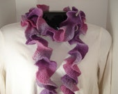 Purples and Pinks Light-Weight Ruffle Scarf - Hand knitted