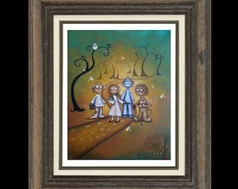 Wizard of Oz -   Whimsical Fairytale Fantasy Art Print -- Art  Print Giclee - Kids Wall Art - Follow the Yellow Brick Road