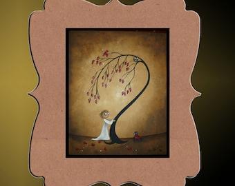Whimsical Creeper Art Print   -- If I Were Brave-- Art  Print Giclee - 8x10 - Whimsical Tree - Hedgehog - Owl