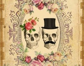INSTANT Digital DOWNLOAD - DIY Printable Gothic Victorian Skull Couple - Antique Tattoo Day of The Dead - Wedding Anniversary