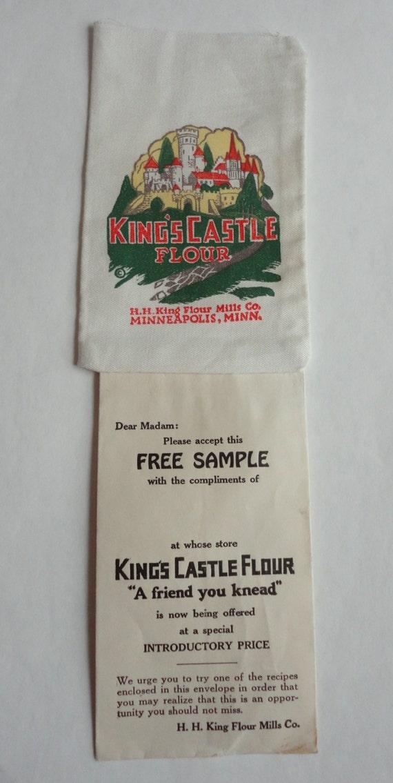 Vintage King's Castle Flour Salesman Sample one Tiny Flour Sack Miniature Advertising Old Cloth Bag H H King Flour Mills Co