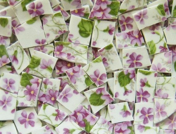 Mosaic Tiles--PURPLE LITTLE  FLOWERS--100 Tiles