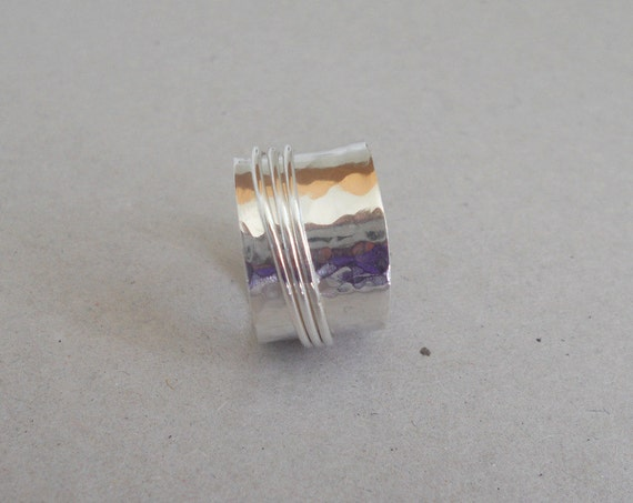 Sterling spinner ring fiddle ring wide band ring SR107