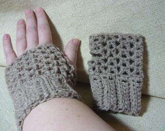 Sand Crocheted Fingerless Gloves light tan