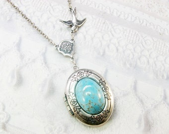 Silver Locket Necklace -  ORIGINAL Blue Robin Egg - Jewelry by BirdzNbeez - Wedding Birthday Bridesmaids Gift