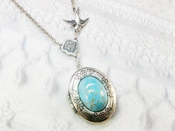 Silver Locket Necklace -  ORIGINAL Blue Robin Egg - Jewelry by BirdzNbeez - Wedding Birthday Bridesmaids Gift