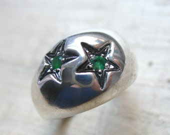 SALE-Emerald and Sterling Star Ring