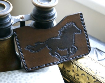 Leather Card Case-Leather Business Card Case-Leather Card Cases-Horses Equine Stallion-Leather Credit Card Case-Sleeve-Leather Tooled Case