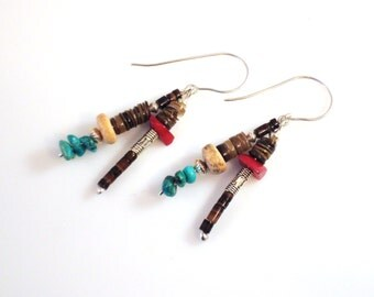 eclectic turquoise, shell and silver mixed dangle earrings