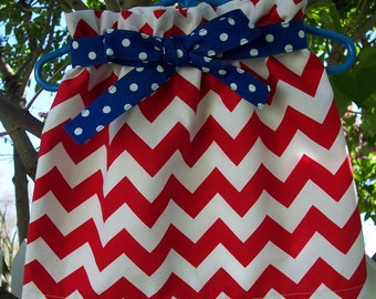 My Carrie Custom Red and White Chevron Paper Bag Style Skirt with Tie Belt