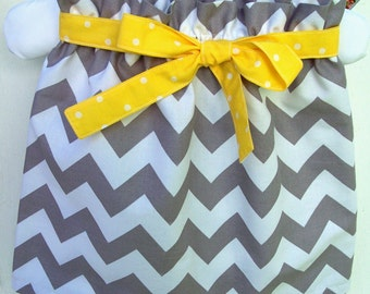 My Carrie Custom Grey and White Chevron Paper Bag Style Skirt with Tie Belt