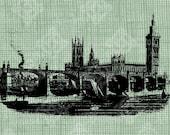 Digital Download Parliament & Bridge Landscape London, Antique Illustration Vintage Cityscape, UK, British Scene, digi stamp, digis, Big Ben