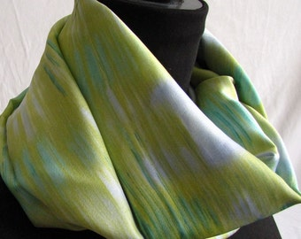 Infinity Scarf Accessory Womens Fashion in Gold Green Blue Soft Draping Fabric