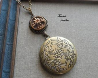 Antique Button with Ornate Locket Necklace, Diadem