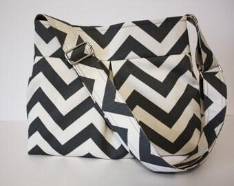 Gray Chevron Handbag / Adjustable Strap
