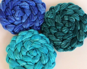 Roving for spinning hand dyed luxury silk blends semi solid roving PRE ORDER 2ozs Aquatic