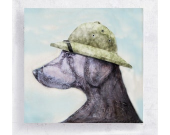 Weimaraner Print - Dog Art - Weimaraner with Pith Helmut - Safari Hat - Canvas Print on 5x5 Art Block - Crocodile Jake -  Animal Art
