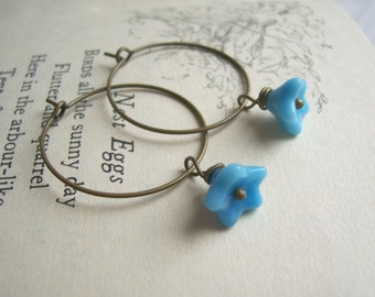 SALE Little Blue Flower hoop earrings - Forget Me Not - glass beads on bronze - handmade