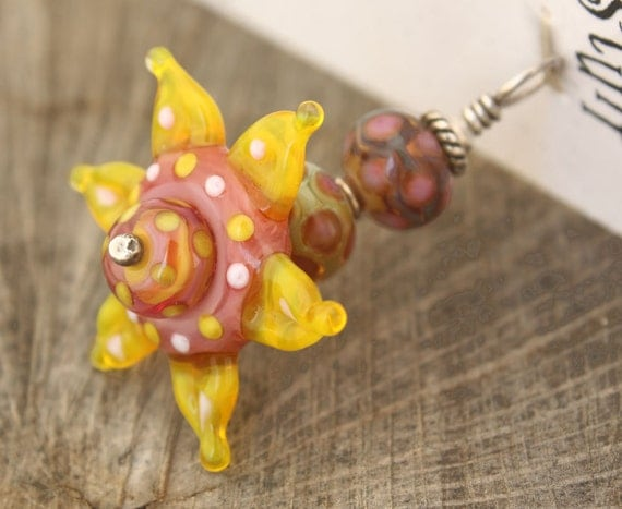Yellow Pink Unique Glass Flower Pendant Spring Flower