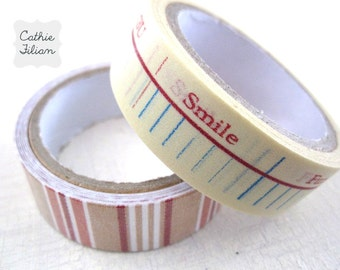 Washi and Fabric Tape - Ruler and Stripe - 2 rolls - Prima Sunrise Sunset - Scrapbooking