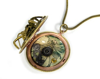 Steampunk Jewelry Necklace Brass Locket Vintage Watch Parts SPIDER GEARS Images Red Crystal Burning Man  - Steampunk Jewelry by edmdesigns
