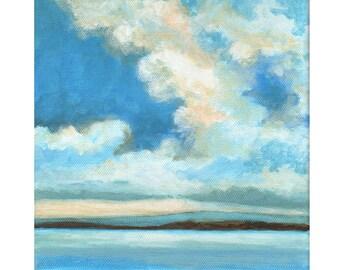 Original Landscape Painting on Canvas - Blue Water 8x8 Scandinavian Sky Low Horizon Ocean